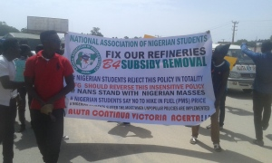 NANS protest of fuel subsidy removal and increased pump price today in Plateau State