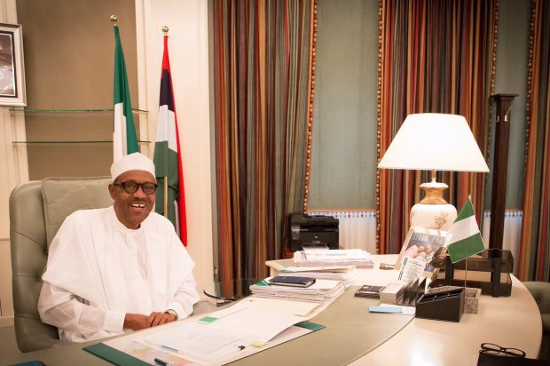 president buhari on desk